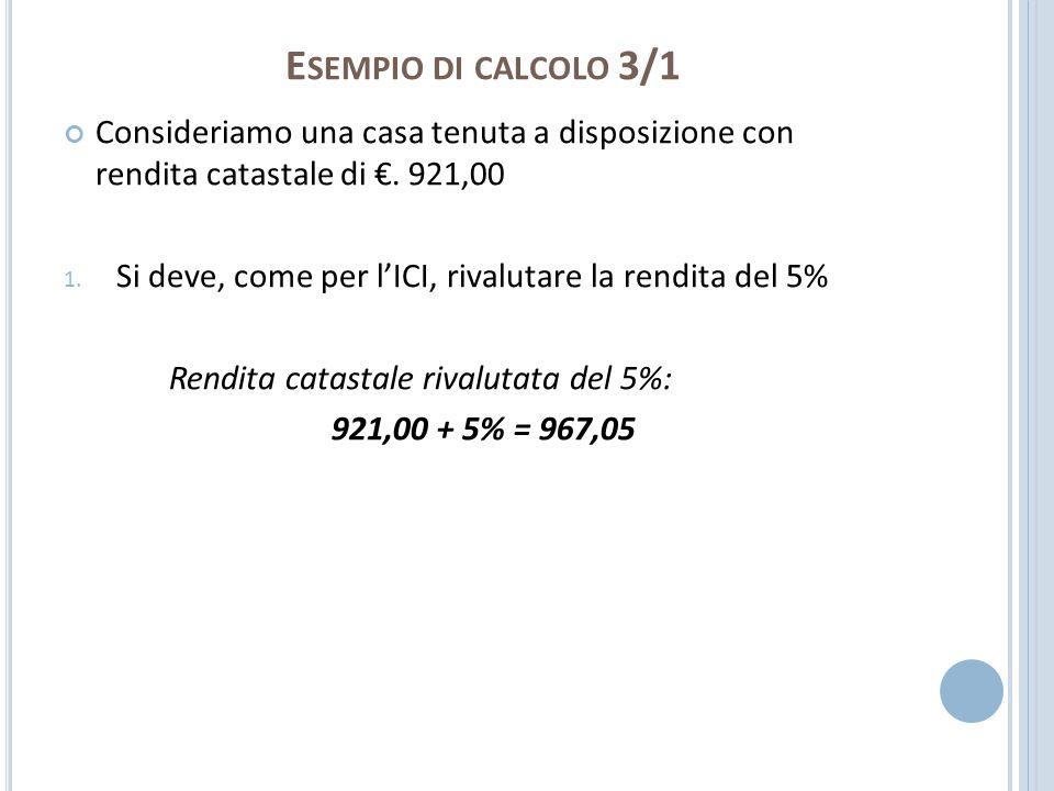 E SEMPIO DI CALCOLO 3/1 Consideriamo una casa tenuta a disposizione con rendita catastale di. 921,00 1. Si deve, come per lICI, rivalutare la rendita
