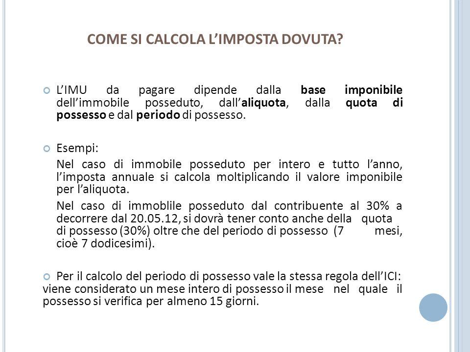 C ONFRONTO ICI – IMU TERRENI Reddito Dominicale + rivalutazione 25% x coeff.