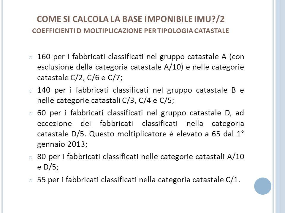 M OLTIPLICATORI B ASE I MPONIBILE F ABBRICATI ICIIMU Categoria catastale da A/1 a A/9:100160 Categoria catastale A/10:5080 Categoria catastale B:140140 Categoria catastale C/1:3455 Categoria catastale C/2, C/6 e C/7:100160 Categoria catastale C/3, C/4 e C/5:100140 Categoria catastale D (escluso D/5):5060 per il 2012; 65 dal 2013 Categoria catastale D/5:5080