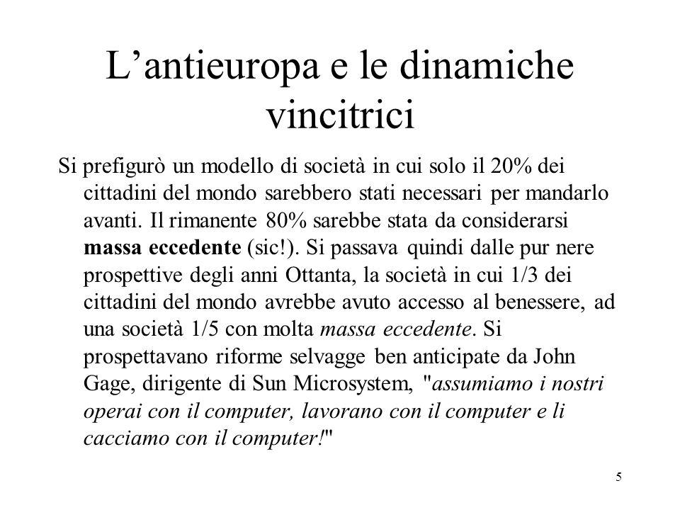 5 Lantieuropa e le dinamiche vincitrici Si prefigurò un modello di società in cui solo il 20% dei cittadini del mondo sarebbero stati necessari per ma