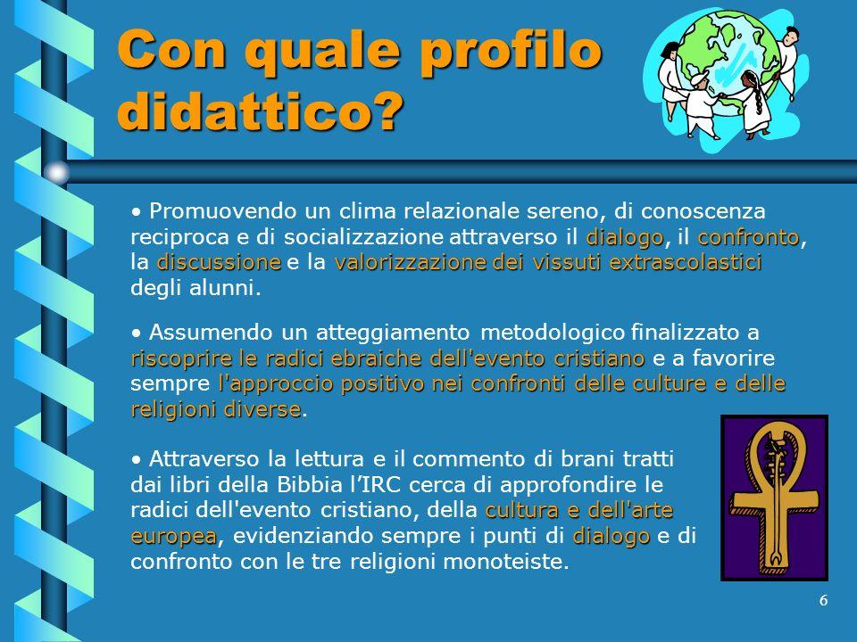6 Con quale profilo didattico? dialogoconfronto discussionevalorizzazione dei vissuti extrascolastici Promuovendo un clima relazionale sereno, di cono