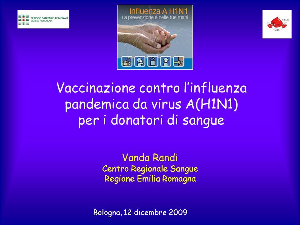 Vaccinazione contro linfluenza pandemica da virus A(H1N1) per i donatori di sangue Vanda Randi Centro Regionale Sangue Regione Emilia Romagna Bologna, 12 dicembre 2009