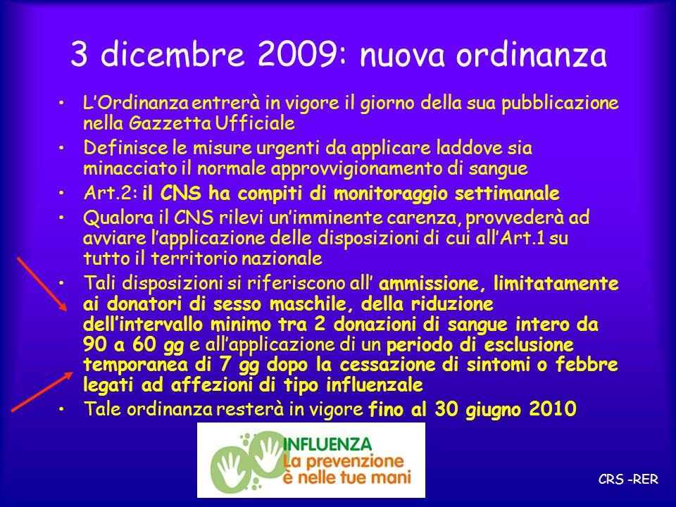 3 dicembre 2009: nuova ordinanza LOrdinanza entrerà in vigore il giorno della sua pubblicazione nella Gazzetta Ufficiale Definisce le misure urgenti d