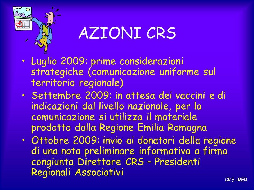 AZIONI CRS Novembre 2009: definizione degli aspetti operativi Condivisione con i Presidenti Regionali associativi ed i responsabili di Area Vasta Diffusione ai Responsabili Provinciali e Direttori ST regionali CRS -RER