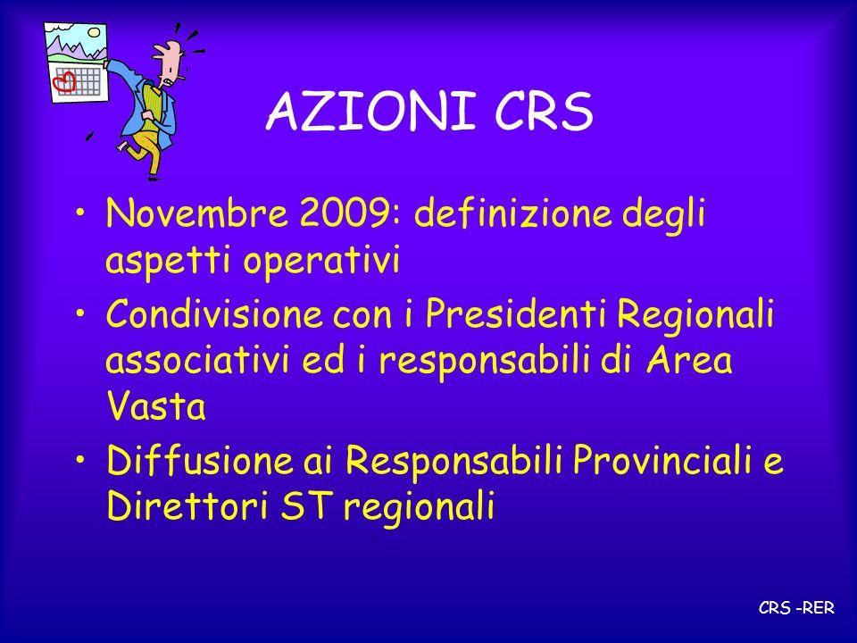 AZIONI CRS Novembre 2009: definizione degli aspetti operativi Condivisione con i Presidenti Regionali associativi ed i responsabili di Area Vasta Diff