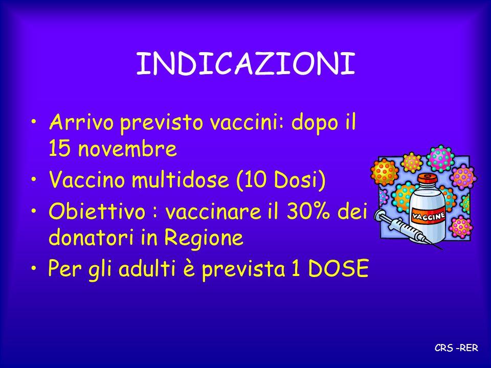 INDICAZIONI Arrivo previsto vaccini: dopo il 15 novembre Vaccino multidose (10 Dosi) Obiettivo : vaccinare il 30% dei donatori in Regione Per gli adulti è prevista 1 DOSE CRS -RER