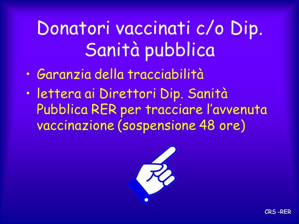 Donatori vaccinati c/o Dip. Sanità pubblica Garanzia della tracciabilità lettera ai Direttori Dip. Sanità Pubblica RER per tracciare lavvenuta vaccina