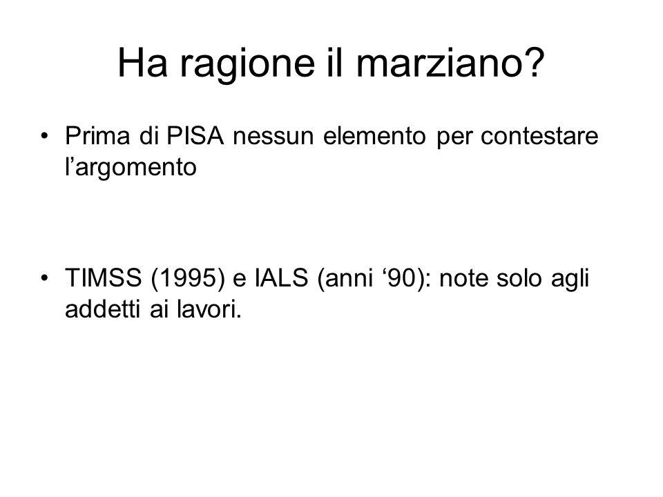 Ha ragione il marziano? Prima di PISA nessun elemento per contestare largomento TIMSS (1995) e IALS (anni 90): note solo agli addetti ai lavori.