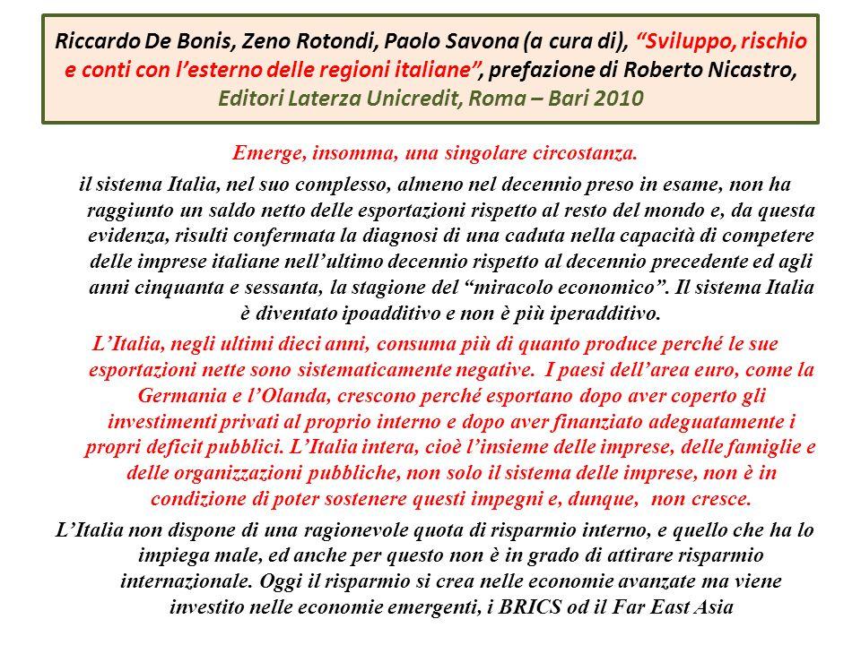 Emerge, insomma, una singolare circostanza. il sistema Italia, nel suo complesso, almeno nel decennio preso in esame, non ha raggiunto un saldo netto