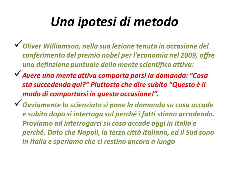 Una ipotesi di metodo Oliver Williamson, nella sua lezione tenuta in occasione del conferimento del premio nobel per leconomia nel 2009, offre una def