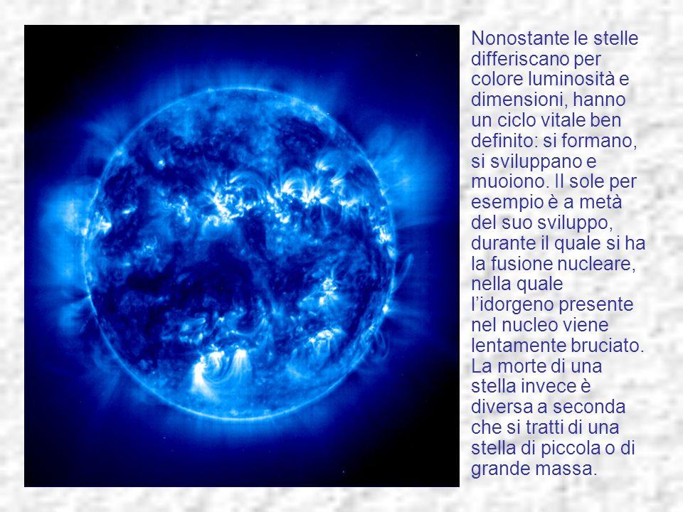 Nonostante le stelle differiscano per colore luminosità e dimensioni, hanno un ciclo vitale ben definito: si formano, si sviluppano e muoiono. Il sole
