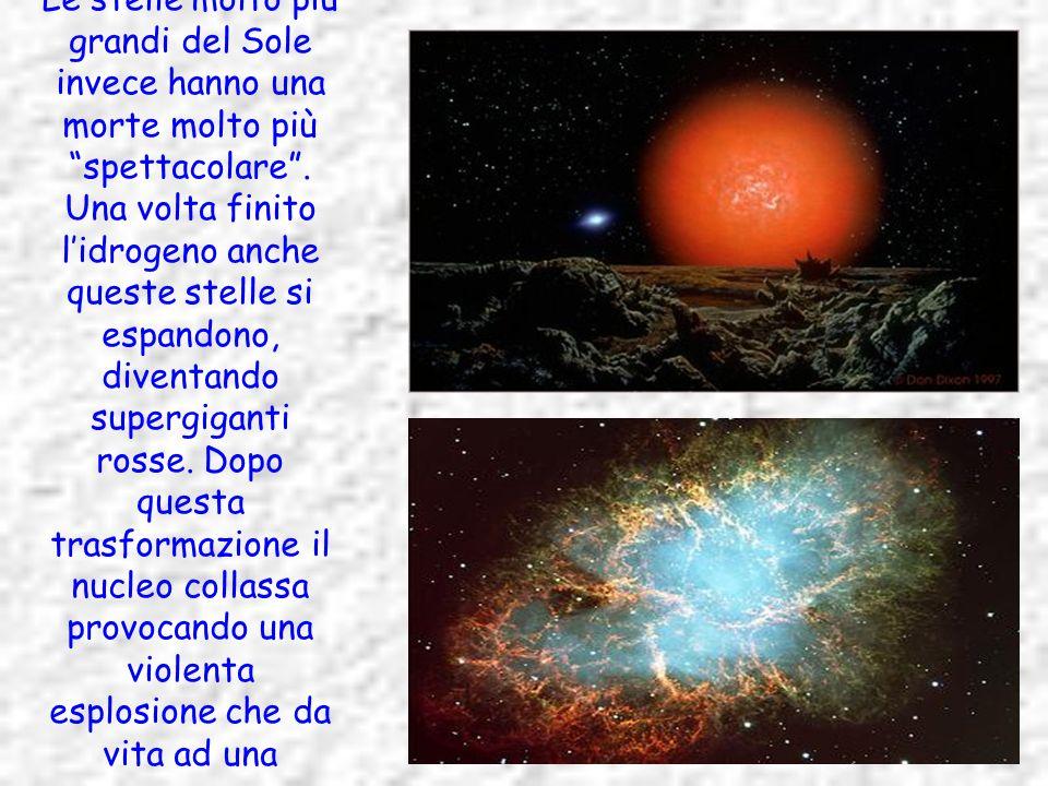 Le stelle molto più grandi del Sole invece hanno una morte molto più spettacolare. Una volta finito lidrogeno anche queste stelle si espandono, divent