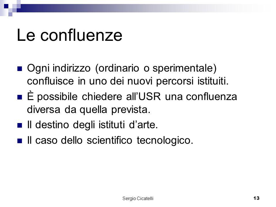 Sergio Cicatelli13 Le confluenze Ogni indirizzo (ordinario o sperimentale) confluisce in uno dei nuovi percorsi istituiti.