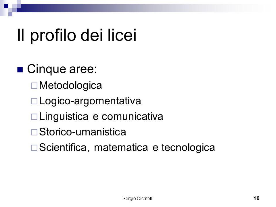 Sergio Cicatelli16 Il profilo dei licei Cinque aree: Metodologica Logico-argomentativa Linguistica e comunicativa Storico-umanistica Scientifica, matematica e tecnologica
