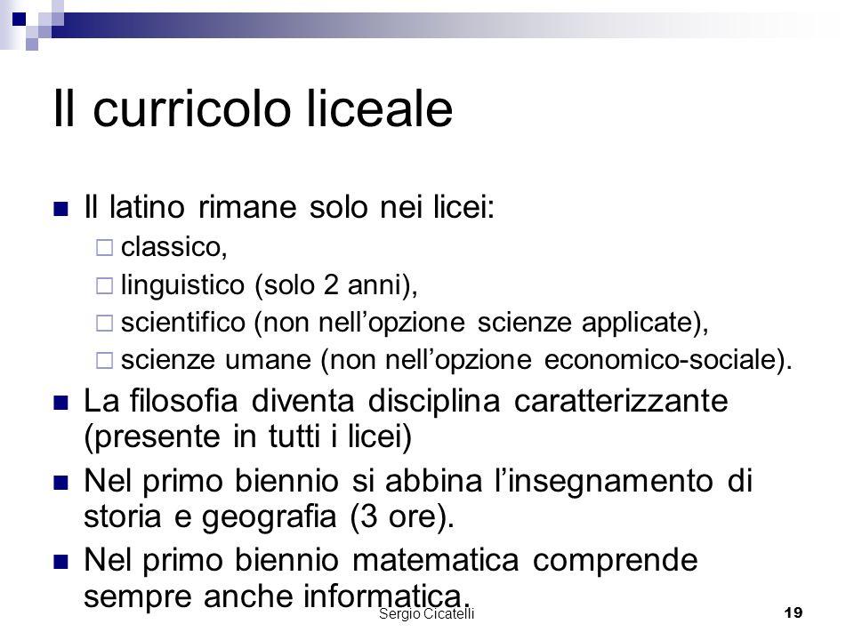 Sergio Cicatelli19 Il curricolo liceale Il latino rimane solo nei licei: classico, linguistico (solo 2 anni), scientifico (non nellopzione scienze applicate), scienze umane (non nellopzione economico-sociale).