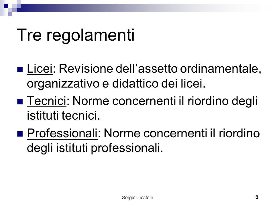Sergio Cicatelli3 Tre regolamenti Licei: Revisione dellassetto ordinamentale, organizzativo e didattico dei licei.