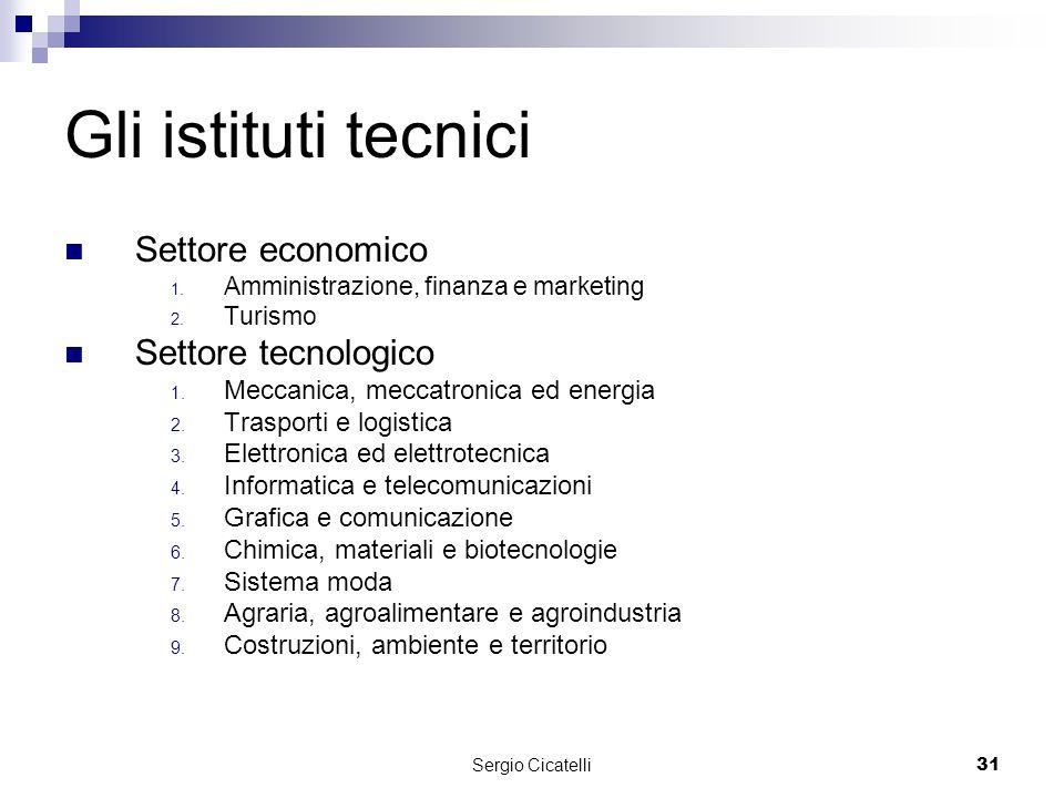 Sergio Cicatelli31 Gli istituti tecnici Settore economico 1.