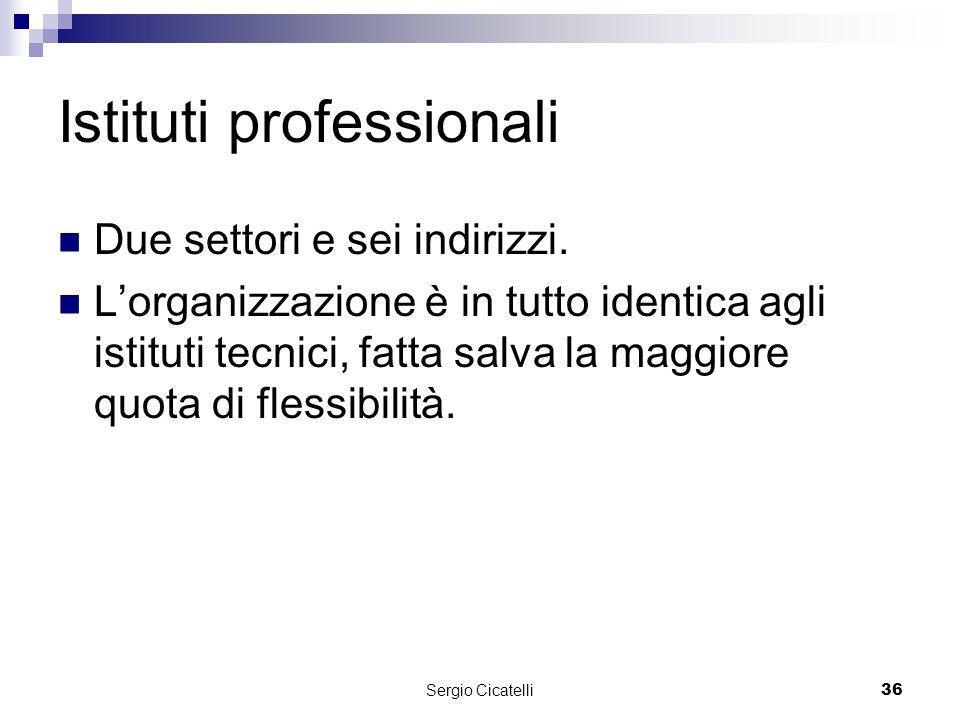 Sergio Cicatelli36 Istituti professionali Due settori e sei indirizzi.