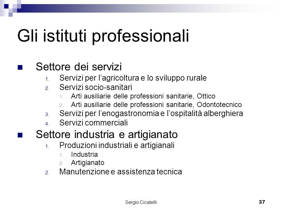 Sergio Cicatelli37 Gli istituti professionali Settore dei servizi 1.