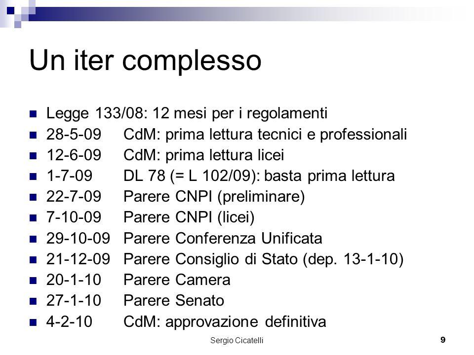Sergio Cicatelli9 Un iter complesso Legge 133/08: 12 mesi per i regolamenti 28-5-09CdM: prima lettura tecnici e professionali 12-6-09CdM: prima lettura licei 1-7-09DL 78 (= L 102/09): basta prima lettura 22-7-09Parere CNPI (preliminare) 7-10-09 Parere CNPI (licei) 29-10-09 Parere Conferenza Unificata 21-12-09 Parere Consiglio di Stato (dep.