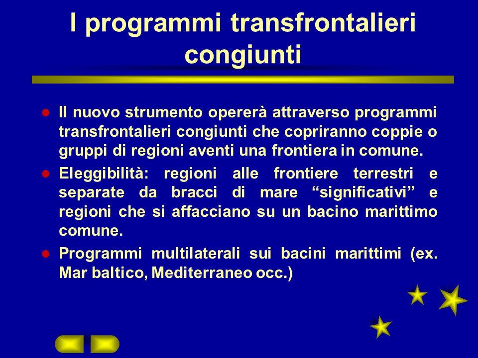 I programmi transfrontalieri congiunti Il nuovo strumento opererà attraverso programmi transfrontalieri congiunti che copriranno coppie o gruppi di regioni aventi una frontiera in comune.