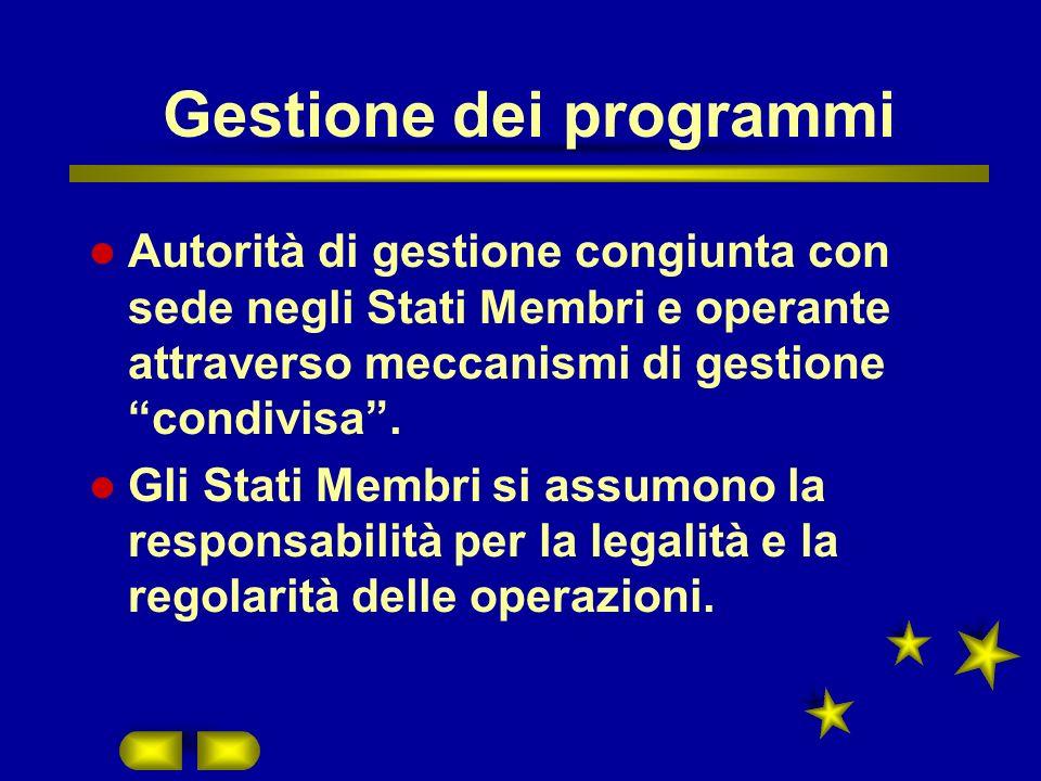 Gestione dei programmi Autorità di gestione congiunta con sede negli Stati Membri e operante attraverso meccanismi di gestione condivisa.