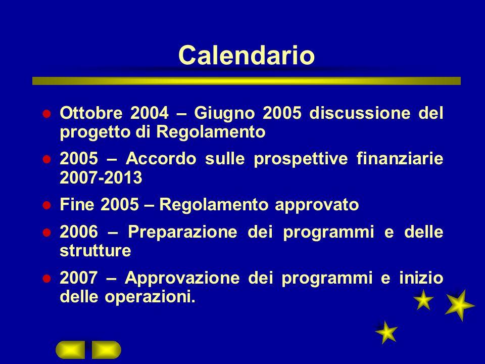 Calendario Ottobre 2004 – Giugno 2005 discussione del progetto di Regolamento 2005 – Accordo sulle prospettive finanziarie 2007-2013 Fine 2005 – Regolamento approvato 2006 – Preparazione dei programmi e delle strutture 2007 – Approvazione dei programmi e inizio delle operazioni.