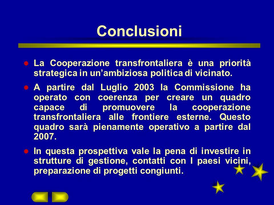 Conclusioni La Cooperazione transfrontaliera è una priorità strategica in unambiziosa politica di vicinato.