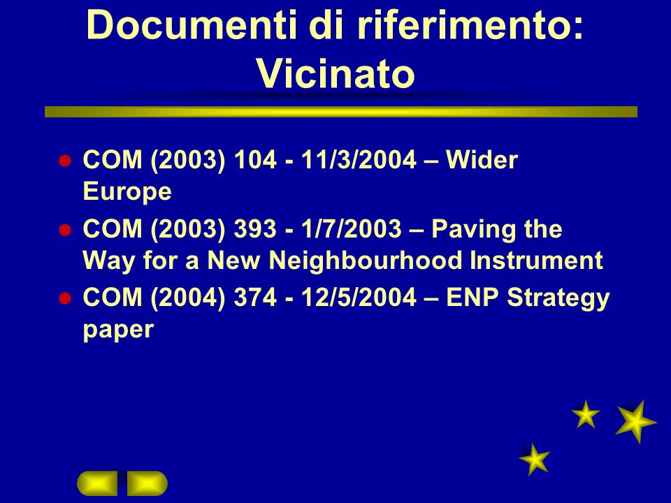 Documenti di riferimento: Vicinato COM (2003) 104 - 11/3/2004 – Wider Europe COM (2003) 393 - 1/7/2003 – Paving the Way for a New Neighbourhood Instrument COM (2004) 374 - 12/5/2004 – ENP Strategy paper