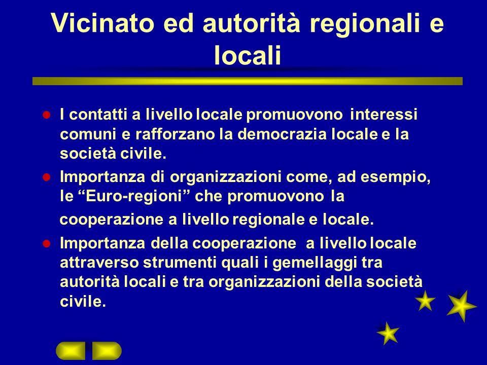 Vicinato ed autorità regionali e locali I contatti a livello locale promuovono interessi comuni e rafforzano la democrazia locale e la società civile.