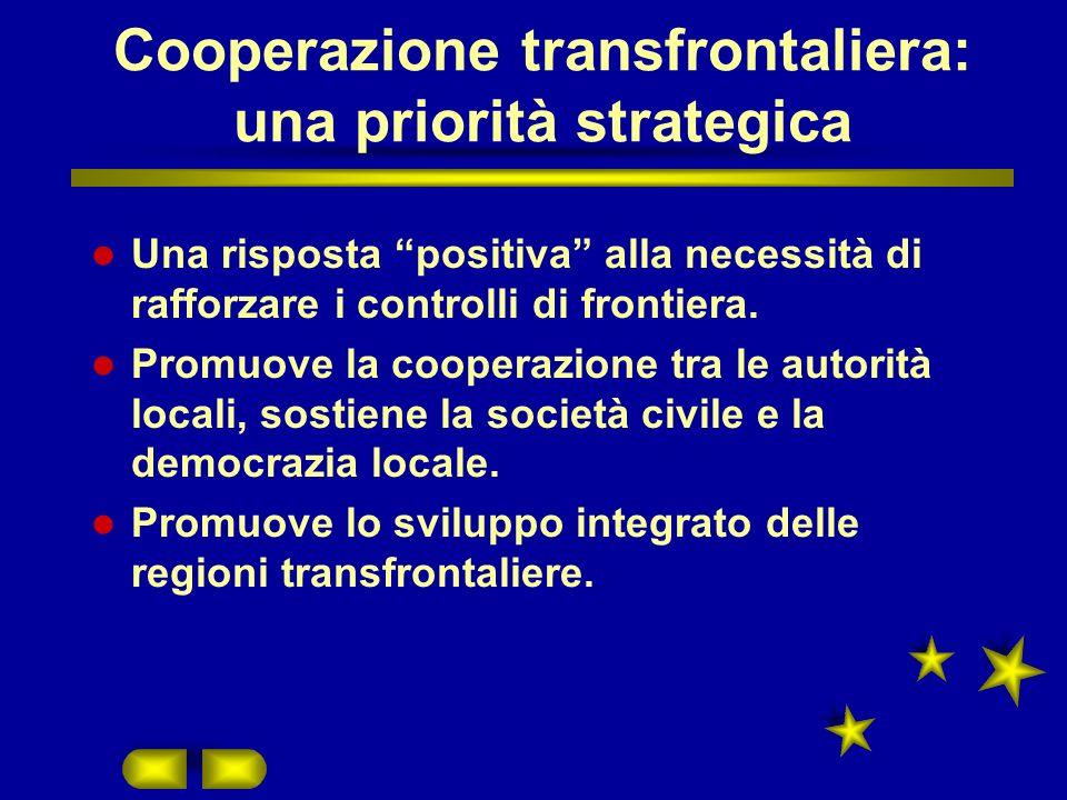 Cooperazione transfrontaliera: una priorità strategica Una risposta positiva alla necessità di rafforzare i controlli di frontiera.