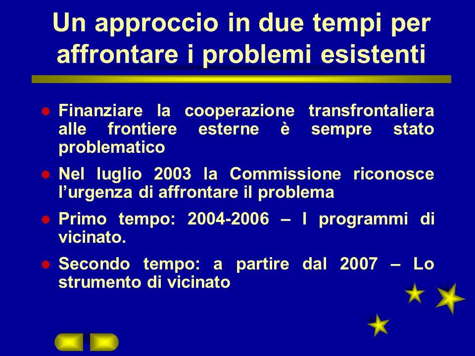 Un approccio in due tempi per affrontare i problemi esistenti Finanziare la cooperazione transfrontaliera alle frontiere esterne è sempre stato problematico Nel luglio 2003 la Commissione riconosce lurgenza di affrontare il problema Primo tempo: 2004-2006 – I programmi di vicinato.