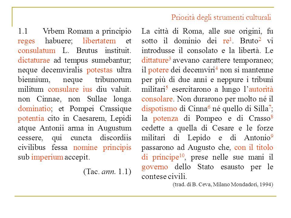 Priorità degli strumenti culturali 1.1 Vrbem Romam a principio reges habuere; libertatem et consulatum L. Brutus instituit. dictaturae ad tempus sumeb