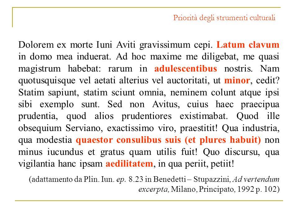 Priorità degli strumenti culturali Dolorem ex morte Iuni Aviti gravissimum cepi. Latum clavum in domo mea induerat. Ad hoc maxime me diligebat, me qua