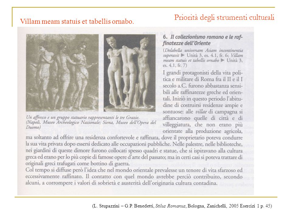 Priorità degli strumenti culturali Villam meam statuis et tabellis ornabo. (L. Stupazzini – G.P. Benedetti, Stilus Romanus, Bologna, Zanichelli, 2005