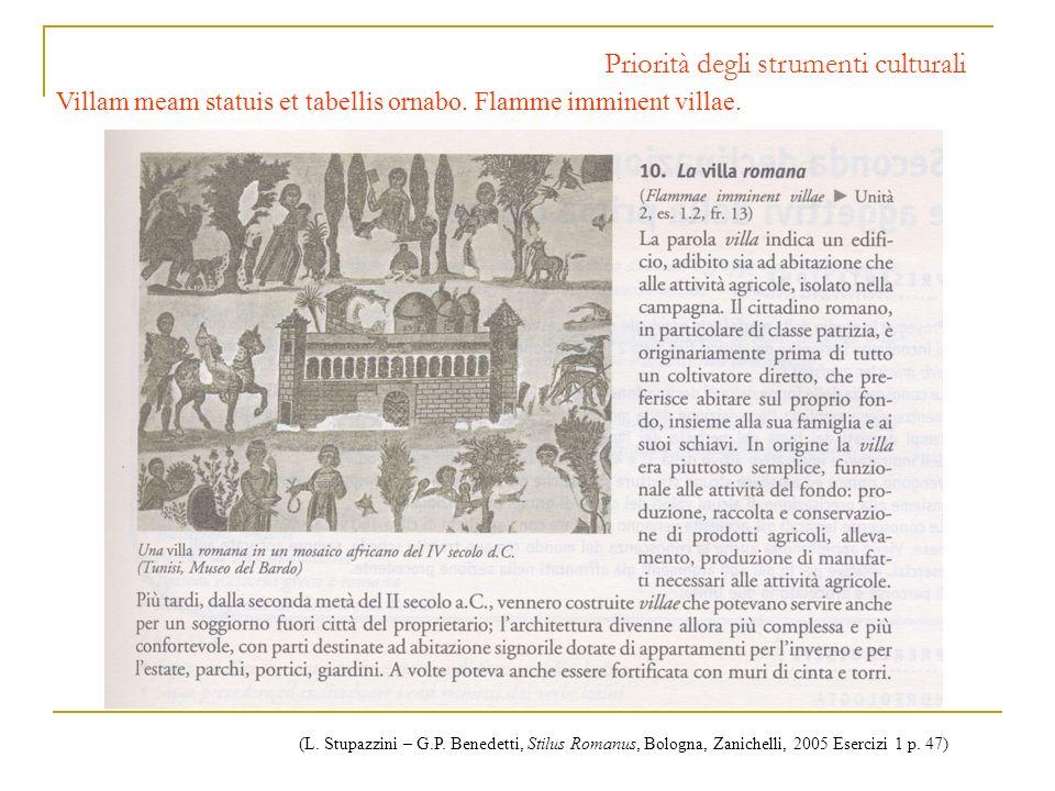 Priorità degli strumenti culturali Villam meam statuis et tabellis ornabo. Flamme imminent villae. (L. Stupazzini – G.P. Benedetti, Stilus Romanus, Bo