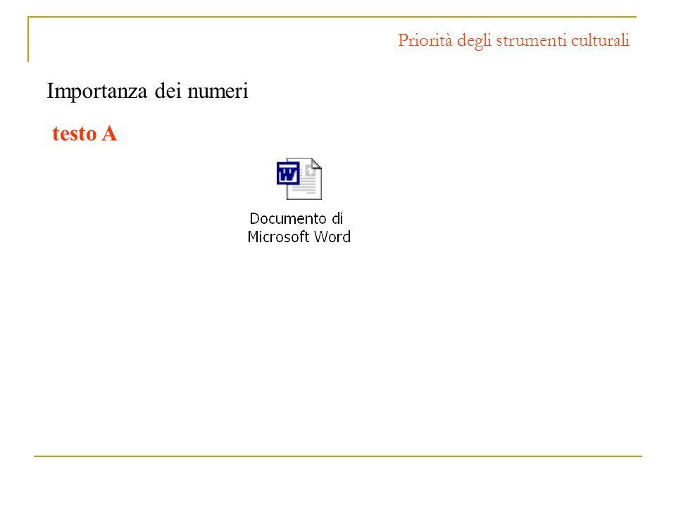 Priorità degli strumenti culturali Importanza dei numeri testo A