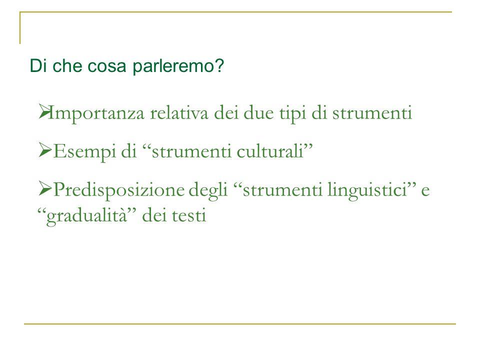 Di che cosa parleremo? Importanza relativa dei due tipi di strumenti Esempi di strumenti culturali Predisposizione degli strumenti linguistici e gradu