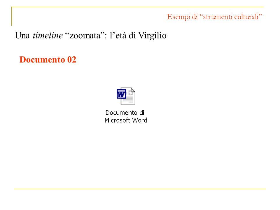 Esempi di strumenti culturali Una timeline zoomata: letà di Virgilio Documento 02