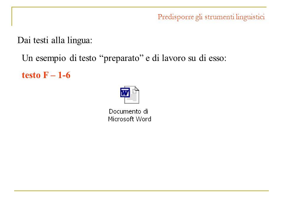 Predisporre gli strumenti linguistici Un esempio di testo preparato e di lavoro su di esso: testo F – 1-6 Dai testi alla lingua: