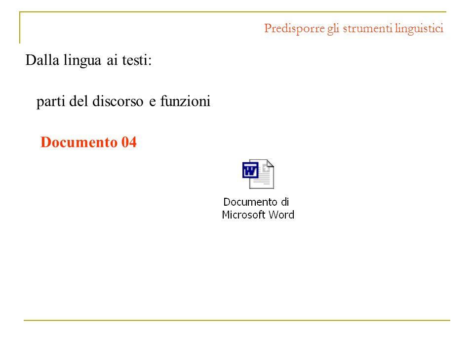 Dalla lingua ai testi: Predisporre gli strumenti linguistici parti del discorso e funzioni Documento 04