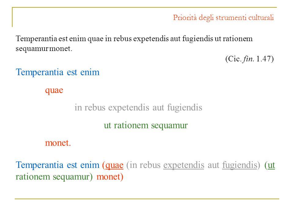 Priorità degli strumenti culturali Temperantia est enim quae in rebus expetendis aut fugiendis ut rationem sequamur monet. (Cic. fin. 1.47) Temperanti