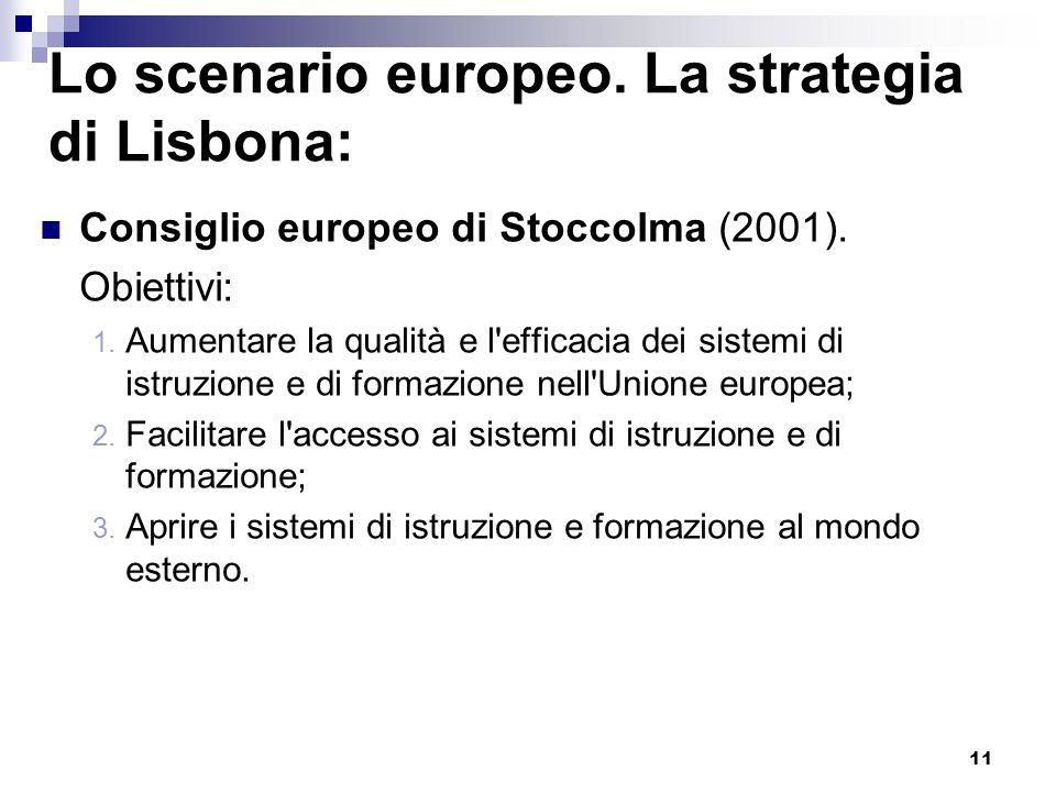 11 Lo scenario europeo. La strategia di Lisbona: Consiglio europeo di Stoccolma (2001). Obiettivi: 1. Aumentare la qualità e l'efficacia dei sistemi d