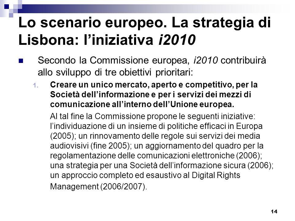 14 Lo scenario europeo. La strategia di Lisbona: liniziativa i2010 Secondo la Commissione europea, i2010 contribuirà allo sviluppo di tre obiettivi pr