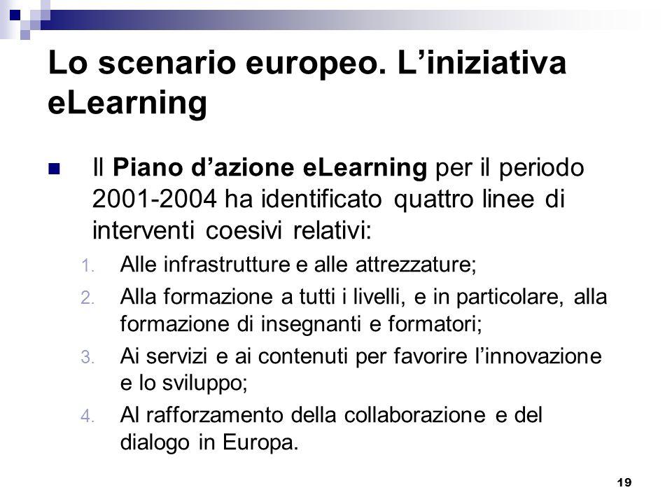 19 Lo scenario europeo. Liniziativa eLearning Il Piano dazione eLearning per il periodo 2001-2004 ha identificato quattro linee di interventi coesivi