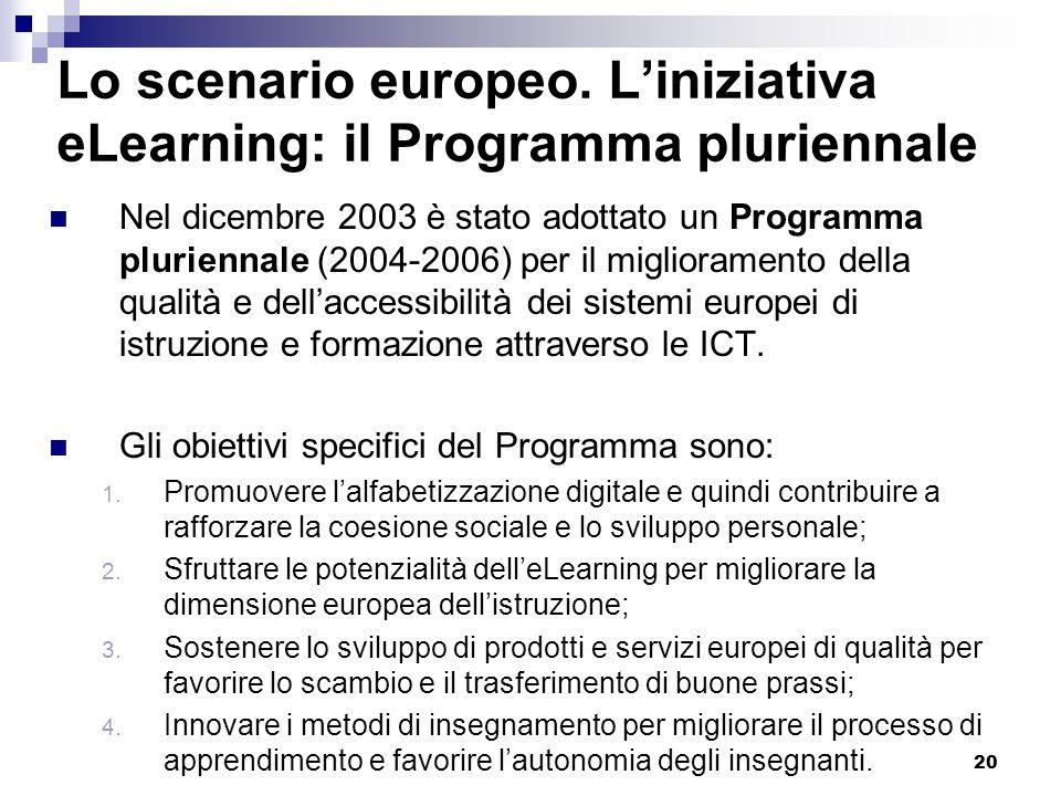 20 Lo scenario europeo. Liniziativa eLearning: il Programma pluriennale Nel dicembre 2003 è stato adottato un Programma pluriennale (2004-2006) per il