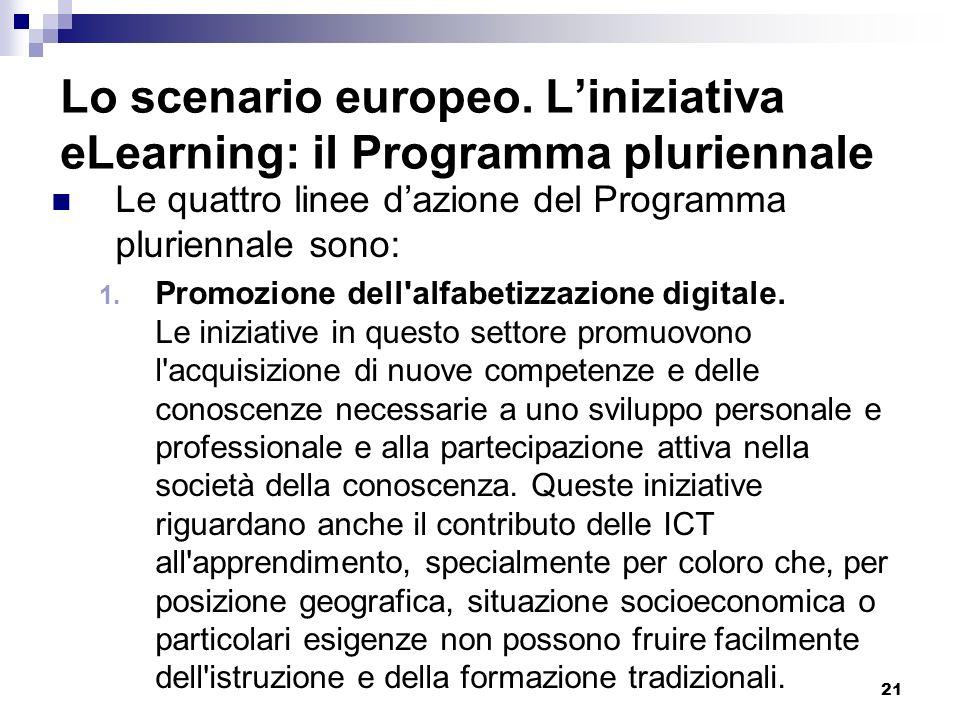 21 Lo scenario europeo. Liniziativa eLearning: il Programma pluriennale Le quattro linee dazione del Programma pluriennale sono: 1. Promozione dell'al