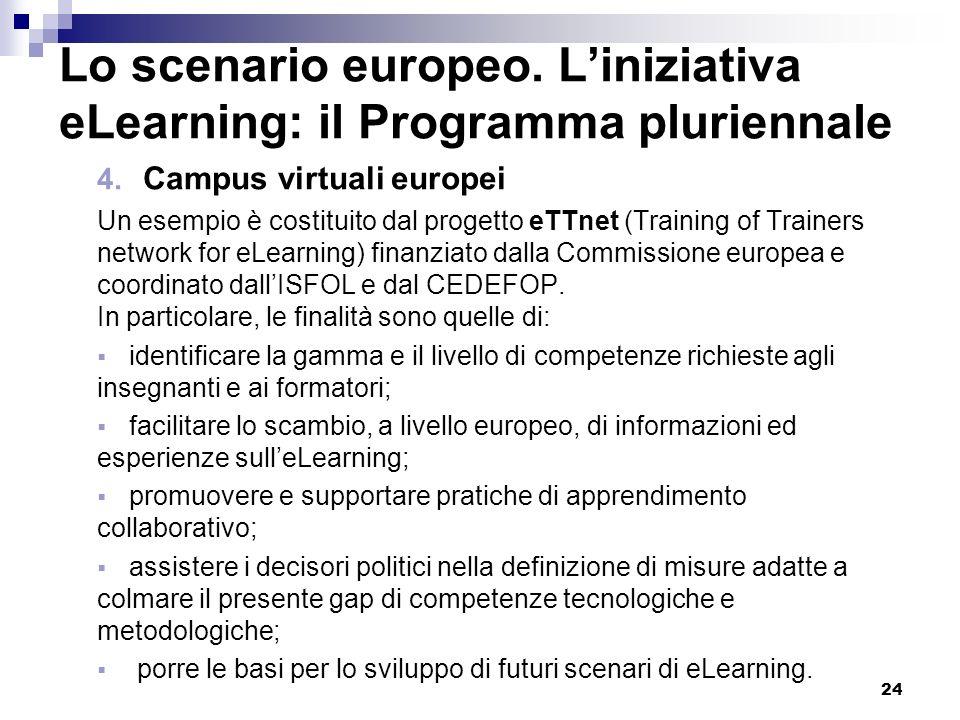 24 Lo scenario europeo. Liniziativa eLearning: il Programma pluriennale 4. Campus virtuali europei Un esempio è costituito dal progetto eTTnet (Traini