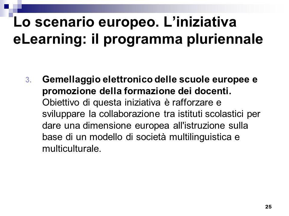 25 Lo scenario europeo. Liniziativa eLearning: il programma pluriennale 3. Gemellaggio elettronico delle scuole europee e promozione della formazione