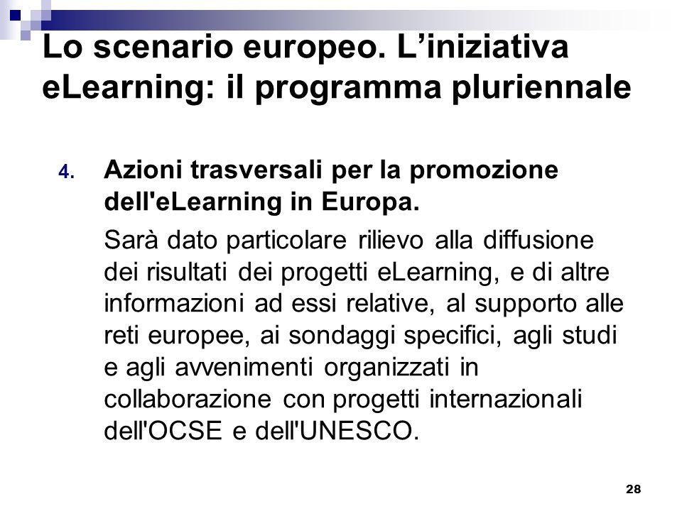 28 Lo scenario europeo. Liniziativa eLearning: il programma pluriennale 4. Azioni trasversali per la promozione dell'eLearning in Europa. Sarà dato pa